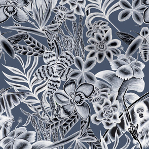 Ze Jungle Wallcovering Dark Blue
