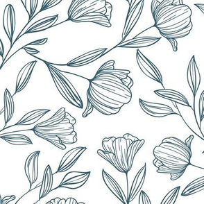 Medium Sketched Flowers