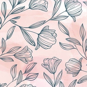 Medium Pink Watercolor and Sketched Flowers