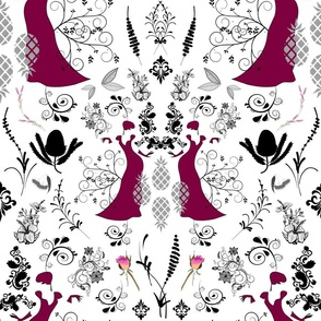 Sophisticated Lady Damask - maroon on white, large