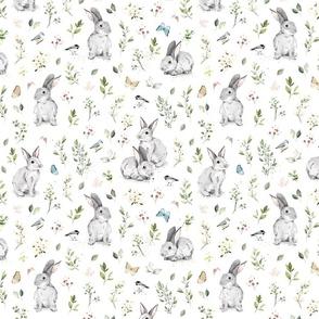 Spring watercolor bunny - big