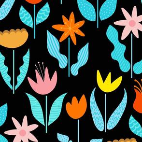 Blobby Flowers-Black Background