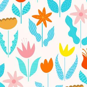 Blobby Flowers-White Background