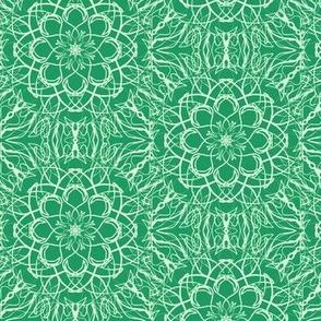 Net Lace Flowers  of Frosty Fields on Dark Jade