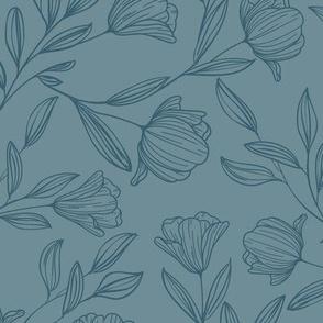 Medium Sketched Flowers Blue on Blue
