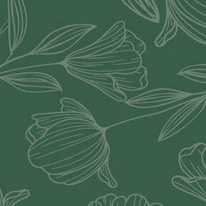 Large Sketched Flowers Green on Green