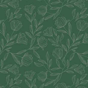Small Sketched Flowers Green on Green