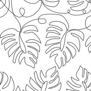 Small Single Line Monstera Leaves