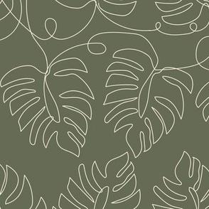 Small Single Line Monstera Leaves Olive