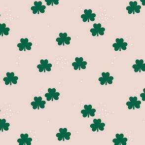 St Patrick's Day boho clover garden shamrock lucky charm forest green ivory SMALL