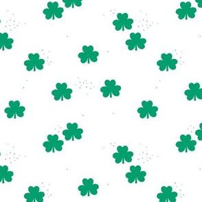 St Patrick's Day boho clover garden shamrock lucky charm forest green on white SMALL