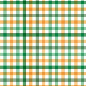 Boho plaid St Patrick's Day Irish green check pattern green orange SMALL