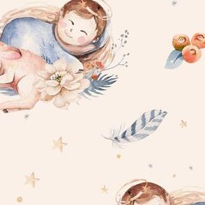 Watercolor newborn. Christmas Nativity scene 3