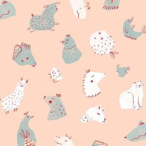 Papercut animals   light blue
