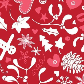 Mistletoe & Gingerbread Ditsy - Red and pink - Large scale