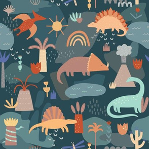 Tropical Dinosaur Pattern in Green and Orange