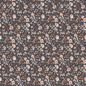 Sunday floral - dark small / orange brown watercolor