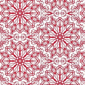 Festive Red Fantasy Flower Lace on Icy Cream