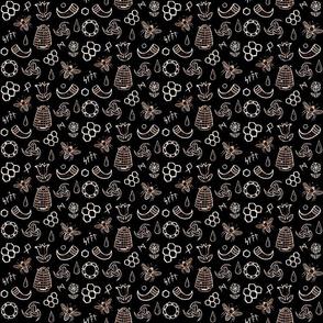Viking Mead Scribbles - Sepia on Black