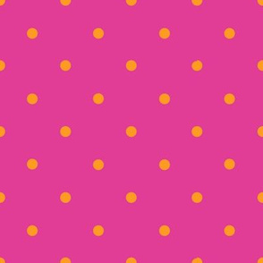 Smaller orange polka dots on fuchsia