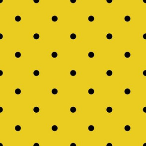 Smaller black polka dots on yellow