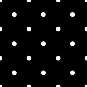 Smaller white polka dots on black