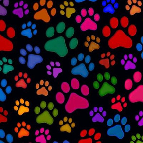 Cat Paws Multicoloured bright Paw prints
