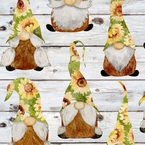 Sunflower Gnomes on Shiplap - large scale