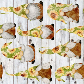Sunflower Gnomes on Shiplap rotated - large scale