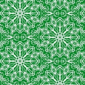 Fantasy Flower Lace of Icy Cream on Elf Green