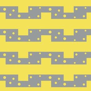 geometric zig zag in grey and yellow by rysunki_malunki
