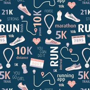 Sporty 10k runners design water bottle trainers track and heart rate illustrations typography design navy peach purple