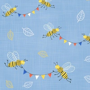 bees with colorful bunting