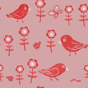 funny birds, flowers and insects, hand printed