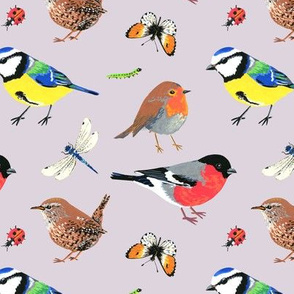 Hand painted birds and insects
