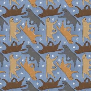 Trotting Labrador Retrievers and paw prints - faux denim