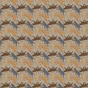 Tiny Trotting Labrador Retrievers and paw prints - faux linen