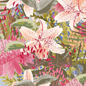 Tropical flowers watercolor