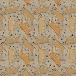 Trotting yellow Labrador Retrievers and paw prints - faux linen