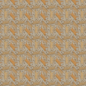 Tiny Trotting yellow Labrador Retrievers and paw prints - faux linen