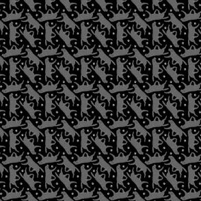 Tiny Trotting black Labrador Retrievers and paw prints - black
