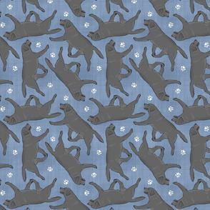 Trotting black Labrador Retrievers and paw prints - faux denim