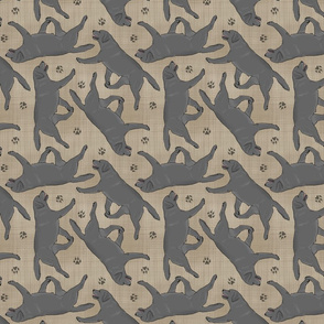 Trotting black Labrador Retrievers and paw prints - faux linen