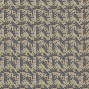 Tiny Trotting black Labrador Retrievers and paw prints - faux linen