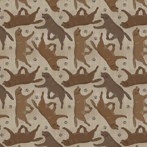 Trotting chocolate Labrador Retrievers and paw prints - faux linen