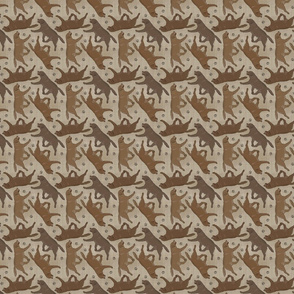 Tiny Trotting chocolate Labrador Retrievers and paw prints - faux linen