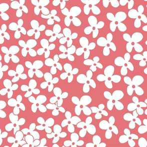 coral background tiny white flowers