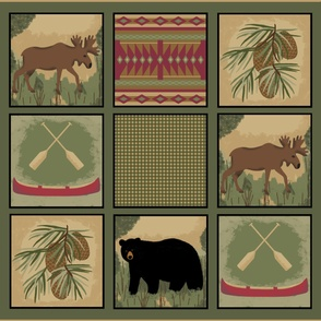 Black Bear Moose Quilt xLge 2 yards