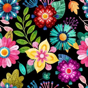 Bright Flowers on Black