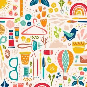 Medium Scale Create Joy // Happy Maker Fabric + Wallpaper // © ZirkusDesign // Art, Sewing, Quilting, Crafting, Knitting, Sunshine, Butterfly, Rainbow, Coffee, Printmaking, Hot Air Balloon, Floral, Bird